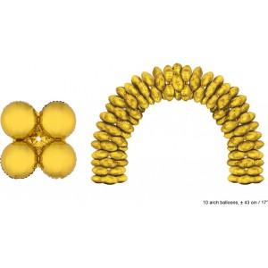 Balon folie auriu rotund 43 cm pentru arcada