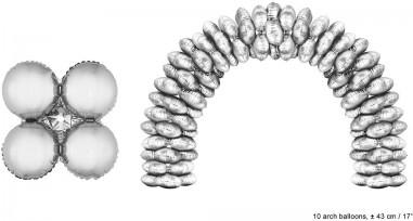 Balon folie argintiu rotund 43 cm pentru arcade