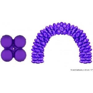 Balon folie mov rotund 43 cm pentru arcade