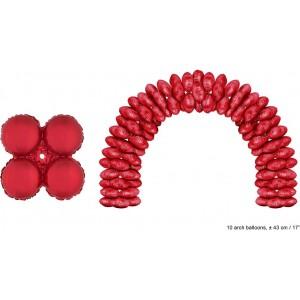 Balon folie rosu rotund 43 cm pentru arcade