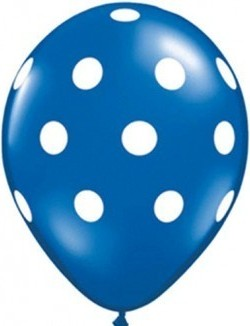 Latex balloon dark blue polka dot 30cm