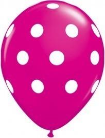 Latex balloon fuchsia polka dot 30cm