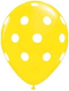 Balon latex galben cu buline 30cm