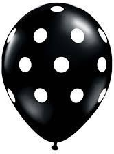 Latex balloon black with polka dot 30cm