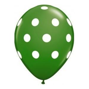 Balon latex verde cu buline 30cm