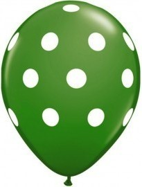 Latex balloon green polka dot 30cm