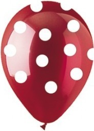 Latex balloon burgundy with polka dots 30cm