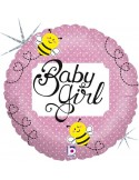 FOIL BALLOONS 45 CM BABY GIRL HOLOGRAPHIC PACKAGED