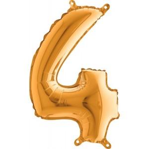 BALLOONS FOIL NUMBER 4 GOLDEN