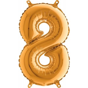 BALLOONS FOIL NUMBERS 8 GOLDEN