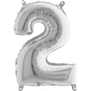 BALLOONS FOIL NUMBER 2 SILVER