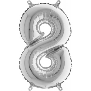 BALLOONS FOIL NUMBER 8 SILVER