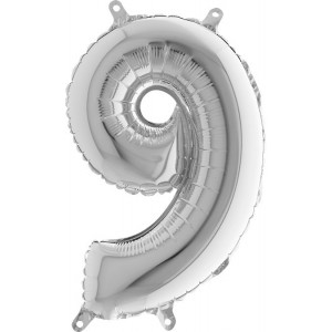 BALLOONS FOIL NUMBER 9 IN SILVER