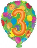 Baloane folie 45 cm cifra 3