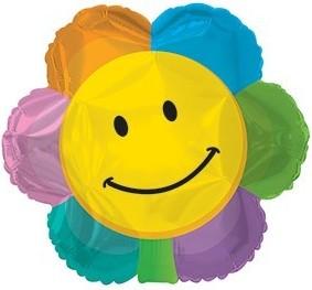 Baloane folie 45 cm Smiley Face Flower