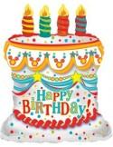 Baloane folie figurina White Birthday Cake 55cmx66cm