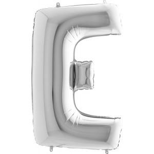 BALLOONS FOIL LETTER E SILVER 100 cm