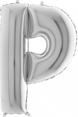 BALLOONS FOIL LETTER P SILVER 100 cm