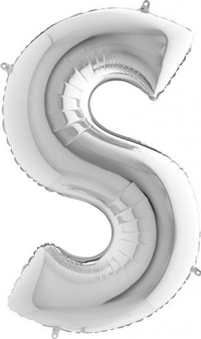 BALLOONS FOIL LETTER S SILVER 100 cm