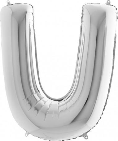 BALOANE FOLIE LITERA U ARGINTIU 100 cm