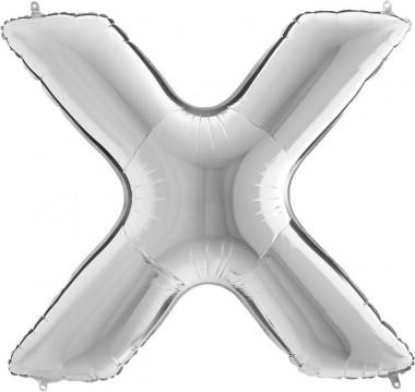 BALOANE FOLIE LITERA X ARGINTIU 100 cm