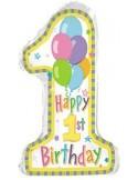Foil balloons figurine pastel 1 birthday 75cmx40cm