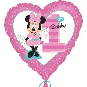 """Baloane folie 45 cm Standard """"Minnie 1st Birthday"""""""