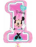 """Baloane figurina """"Minnie 1st Birthday"""" 48 x 71cm"""