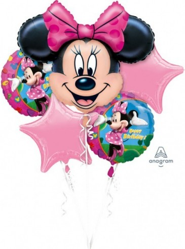 Bouquet Minnie Mouse Birthday Foil Balloon P75 Packaged