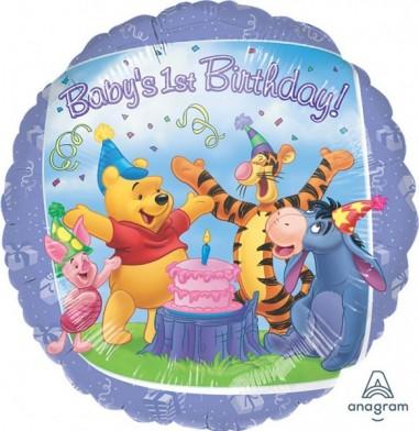 "Baloane folie 45 cm ""Pooh and Friends 1st Birthday"""
