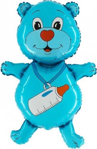 Balloons minifigurina teddy bear blue 30 cm