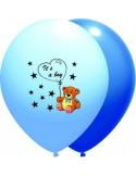 Baloane latex 30 cm IT S A BOY albastru luminos