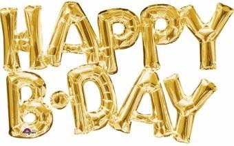 Baloane figurina Happy BDAY Aurii 76cmX48cm