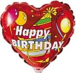 Foil balloons 45 cm Happy Birthday heart