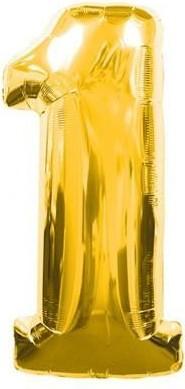 Baloane figurina cifra 1 gold dimensiune 100 cm