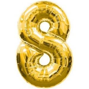 Baloane figurina cifra 8 gold dimensiunea 95 cm