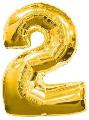 Baloane figurina cifra 2 gold dimensiunea 100 cm