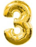 Baloane figurina cifra 3 gold dimensiunea 100 cm
