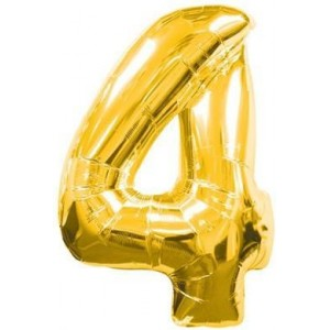 Balloons figurine figure 4 gold size 95 cm