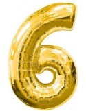 Baloane figurina cifra 6 gold dimensiunea 100 cm