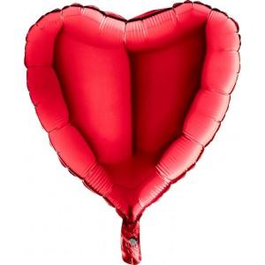 Baloane folie 45 cm simple inima rosie