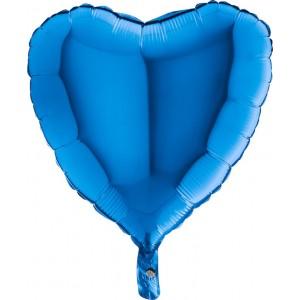 Baloane folie 45 cm simple inima albastra