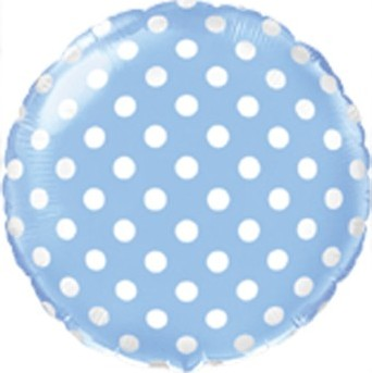 Foil balloons, 45 cm blue with polka dots