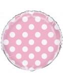 Baloane folie 45 cm roz cu buline