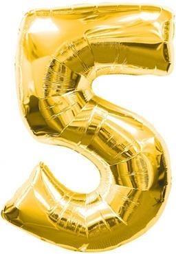 Baloane figurina cifra 5 gold dimensiunea 100 cm