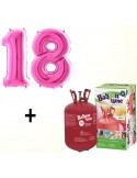 Butelie cu heliu de unica folosinta 0.25 mc + baloane cifra 18 fuchsia dimensiune 101 cm