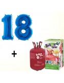 Butelie cu heliu de unica folosinta 0.25 mc + baloane cifra 18 albastre dimensiune 101 cm