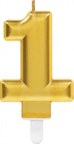 Lumanare tort cifra 1 aurie(gold)