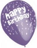 Baloane latex 30 cm imprimate Happy Birthday mov