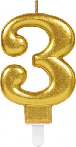 Lumanare tort cifra 3 aurie(gold)